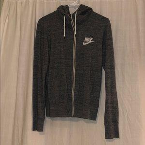 grey NIKE zip-up hoodie
